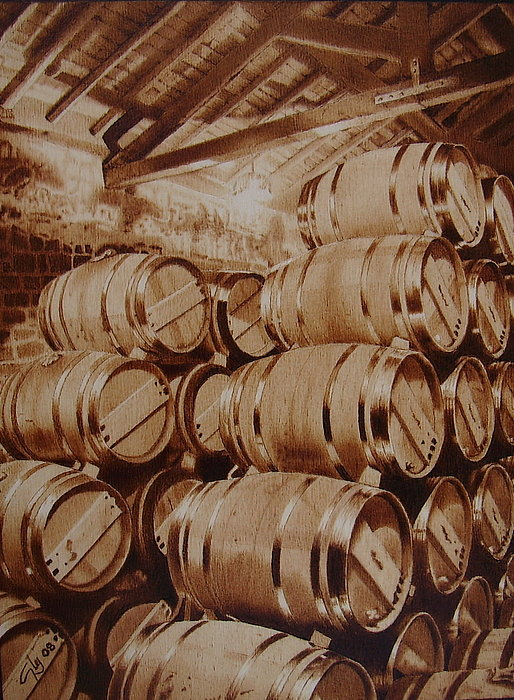 Wine Pyrography - Wine Cellar In La Rioja by Juan Carlos Gonzalez
