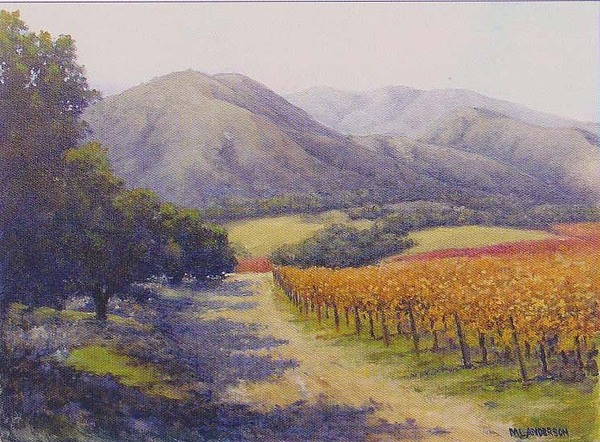 Vineyards Painting - Wine Country by Marv Anderson