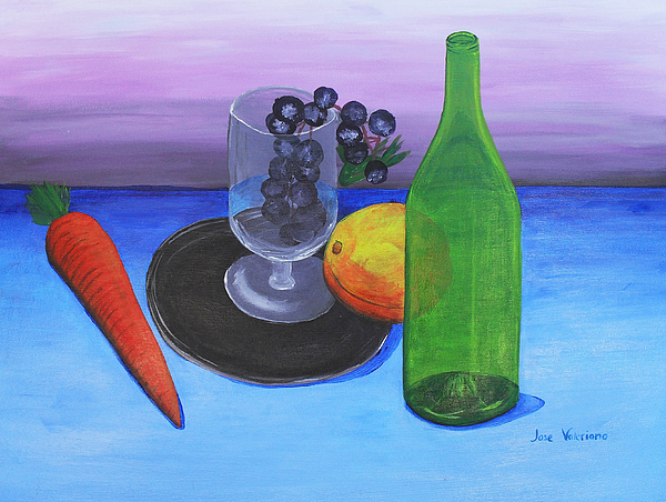 Acrylic Painting - Wine Glass And Fruits by M Valeriano