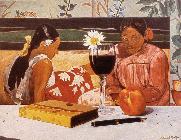 Painting Painting - Wine Glass And Gauguin by Daniel Montoya