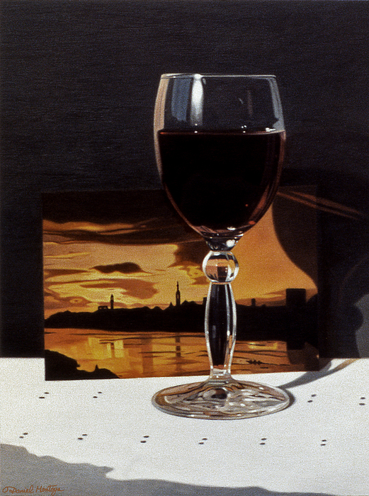 Painting Painting - Wine Glass And Postcard Of Florence by Daniel Montoya
