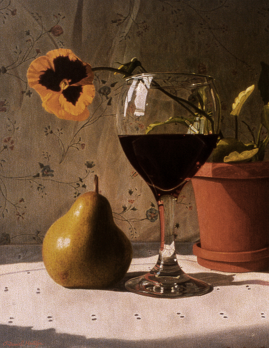 Food Painting - Wine Glass Pear And Pansy by Daniel Montoya