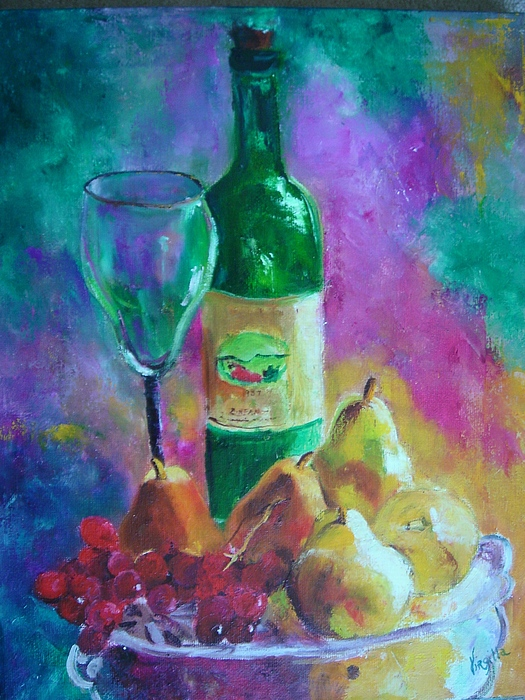 Still Life Painting - Wine Grapes And Pears by Virgilla Lammons
