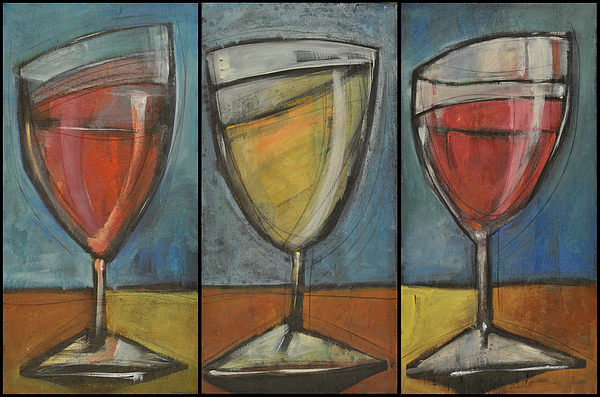 Wine Painting - Wine Trio - Option One by Tim Nyberg