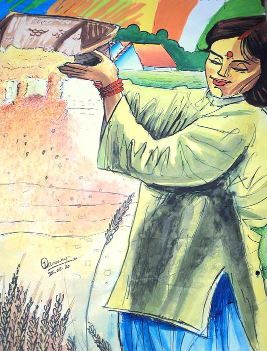 Wheat Painting - Winnowing With Smile by Tanmay Singh