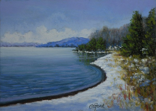 Pastel Painting - Winter At The Lake by Paula Ann Ford