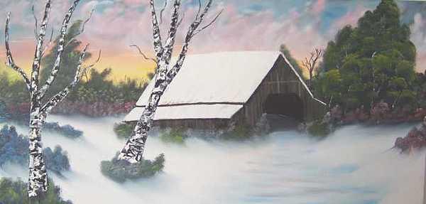 Snow Painting - Winter Barn - Unframed by Sheldon Kiroff