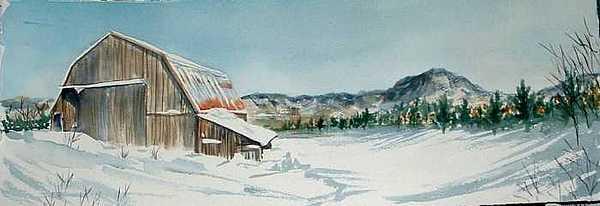 Winter Barn Painting by Diane Ziemski