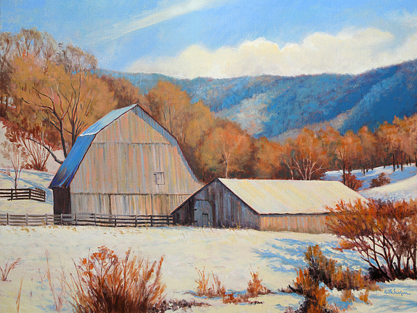 Impressionism Painting - Winter Barns by Keith Burgess