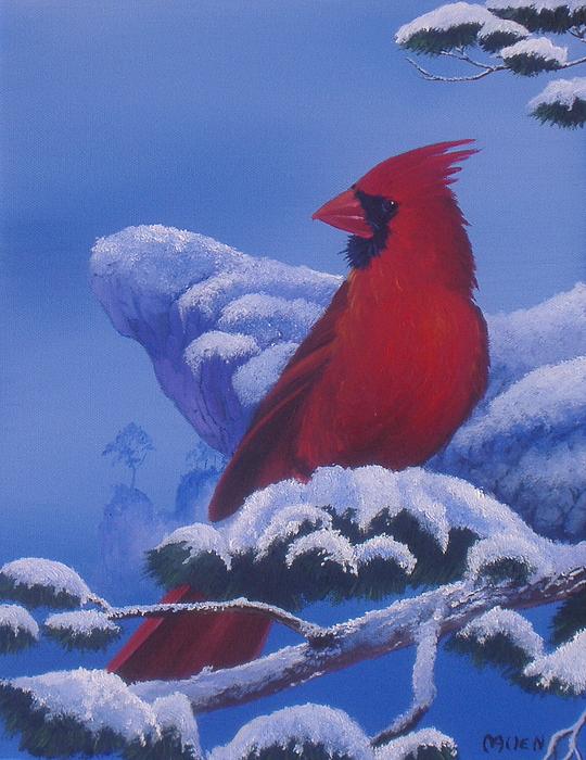 Cardinal Painting - Winter Cardinal by Michael Allen