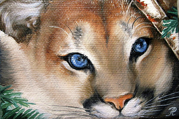 Wild Cat Painting - Winter Cougar by Larissa Prince