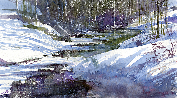 Winter Painting - Winter Creekbed by Andrew King