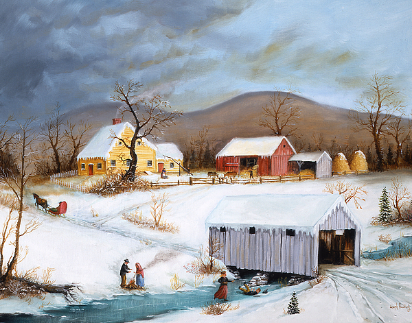 Currier And Ives Painting - Winter Crossing by Joseph Holodook