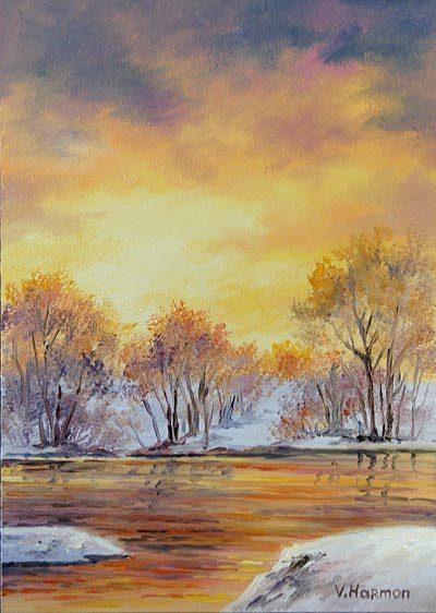 Landscape Painting - Winter Gold Sunset by Varvara Harmon