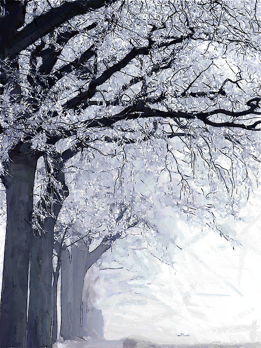 Impressionism Fog Mist Misty Painting - Winter In Our Street by Steve K