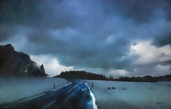 Winter Digital Art - winter landscape at Dusk by Wolfgang Schweizer