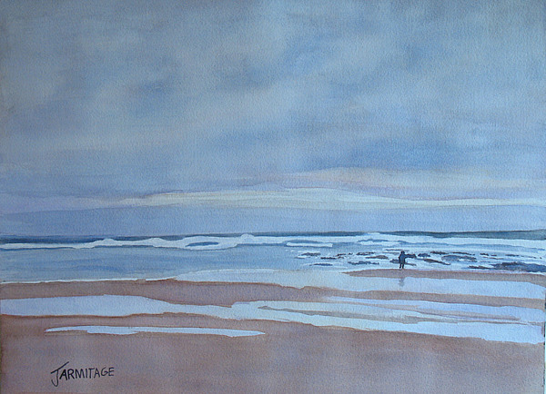 Ocean Painting - Winter Morning Solitude by Jenny Armitage
