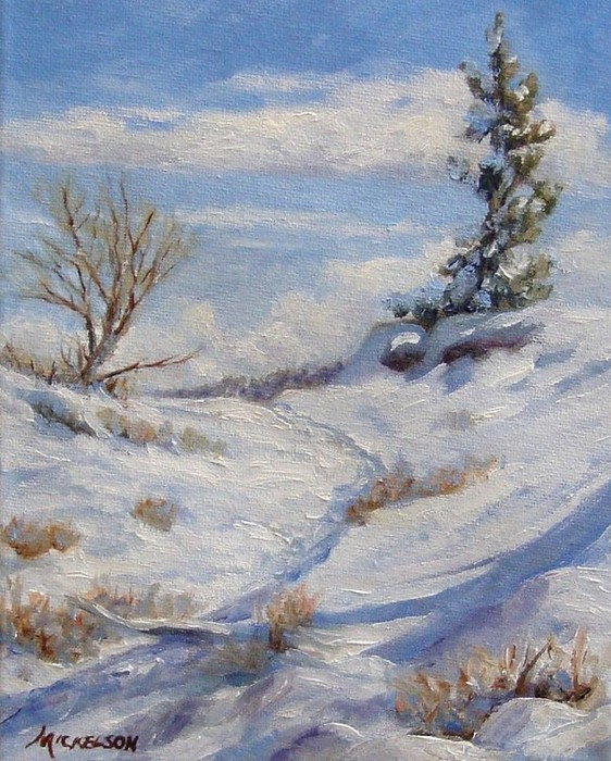 Winter Painting - Winter Path by Debra Mickelson