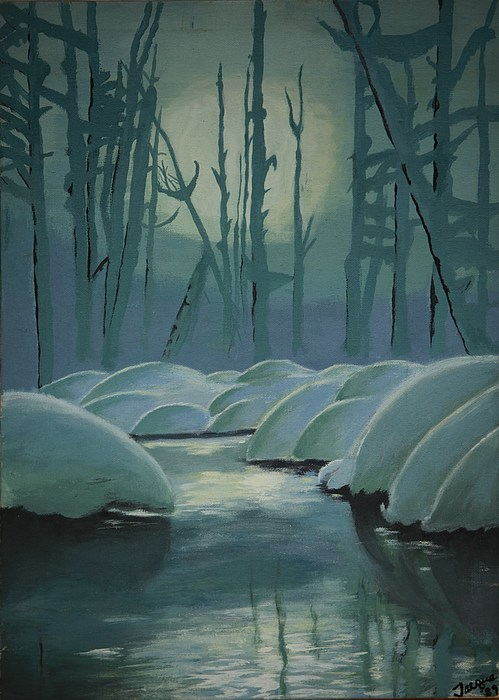 River Painting - Winter Quiet by Jacqueline Athmann