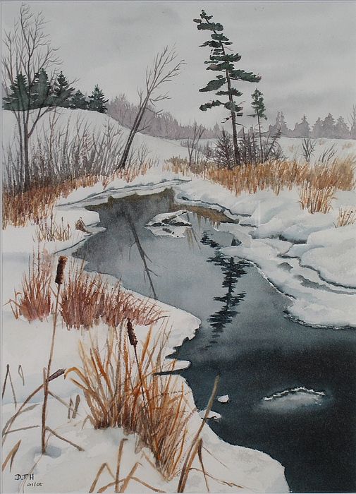 Winter Painting - Winter Reflection by Debbie Homewood