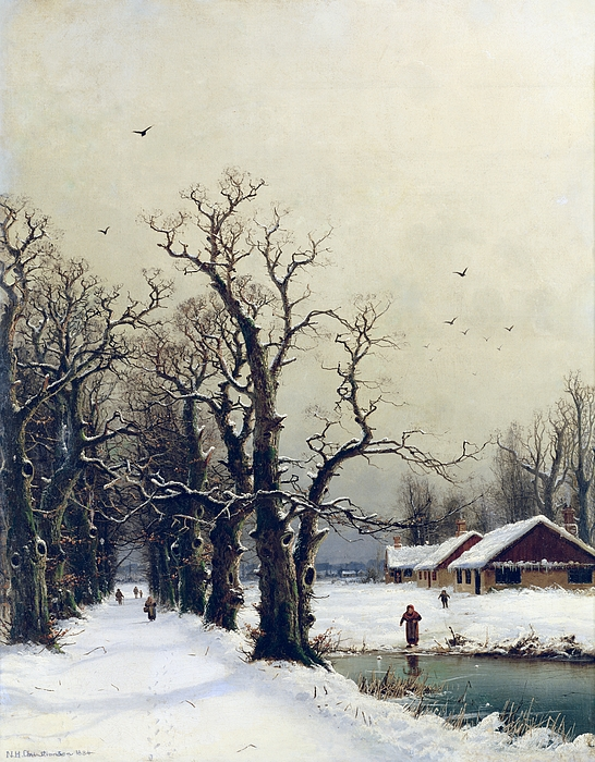 Winter Painting - Winter Scene by Nils Hans Christiansen