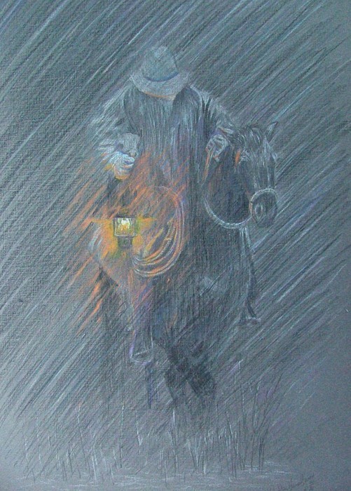 Horses Drawing - Winter Search by Dan Hausel