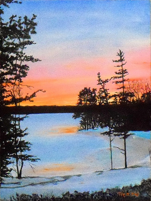 Winter Sunset Laurel Lake Lenox Ma Painting by William Tremble