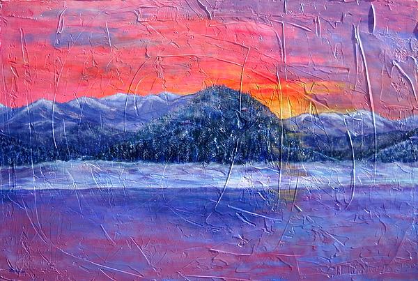 Sunset Painting - Winter Sunset by Sandy Hemmer