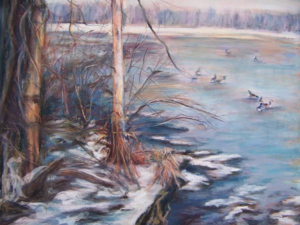 Landscape Pastel - Winter Swamp by Joan Wulff