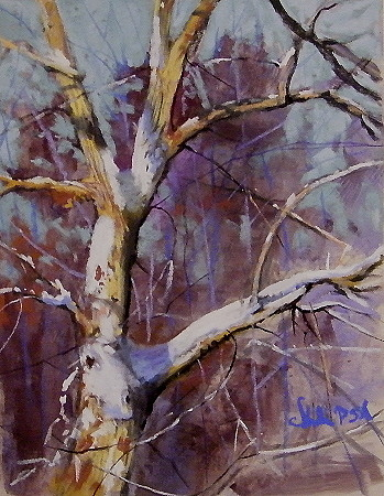 Winter Tree Study Pastel by Tom Christopher