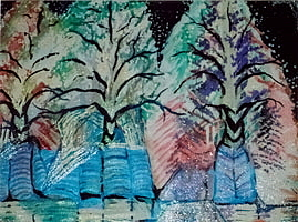 Winter Mixed Media - Winter Trees With Hidden  Horns by Anne-Elizabeth Whiteway
