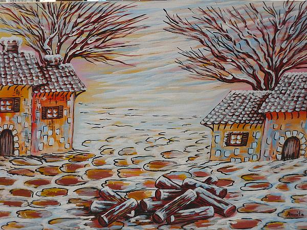 Houses Painting - Winter Village by Anna Dionia