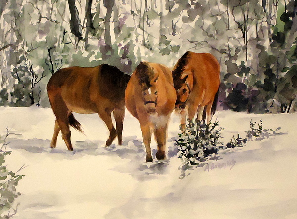 Horse Painting - Winter Walk by Andrea Birdsey Kelly