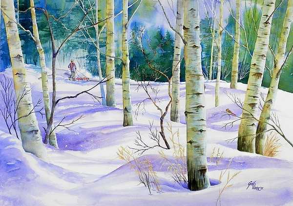 Winter Painting - Winter Walk by Gail Vass