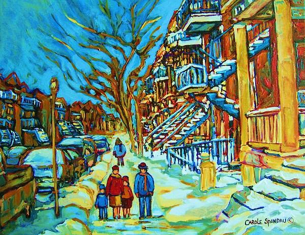 Winterscenes Painting - Winter  Walk In The City by Carole Spandau