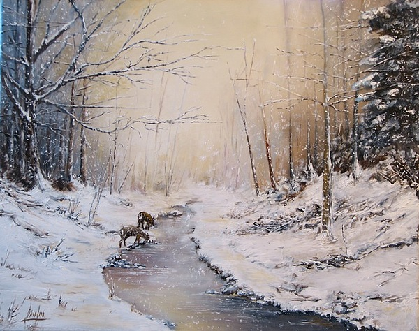 Winters First Snow Painting by Brian Pier
