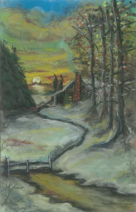 Winter Scene Pastel - Winters Here by Shelby Kube