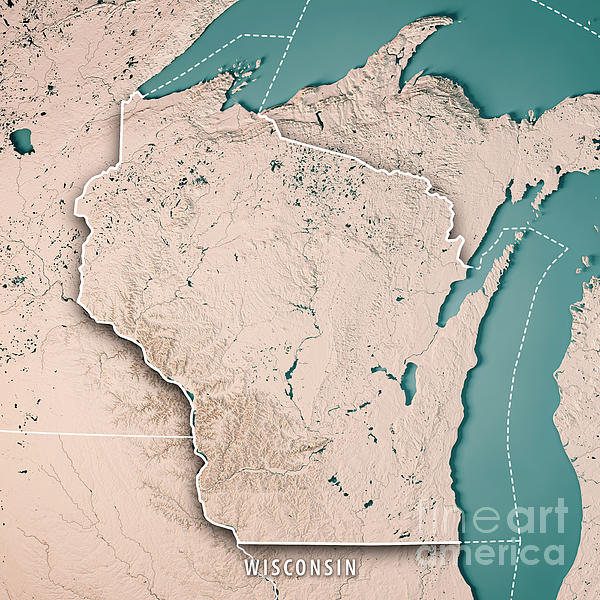 Wisconsin State Usa D Render Topographic Map Neutral Border - Wisconsin map usa