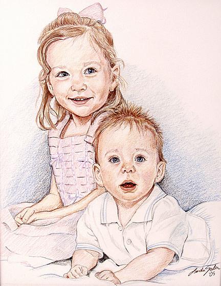 Children Portrait Drawing - Wise Children by Linda Sala