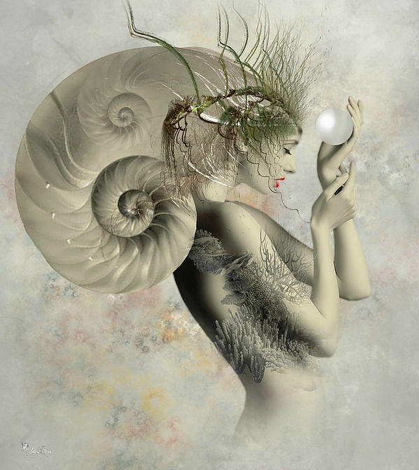 Surreal Digital Art - Wish On A Pearl by Ali Oppy