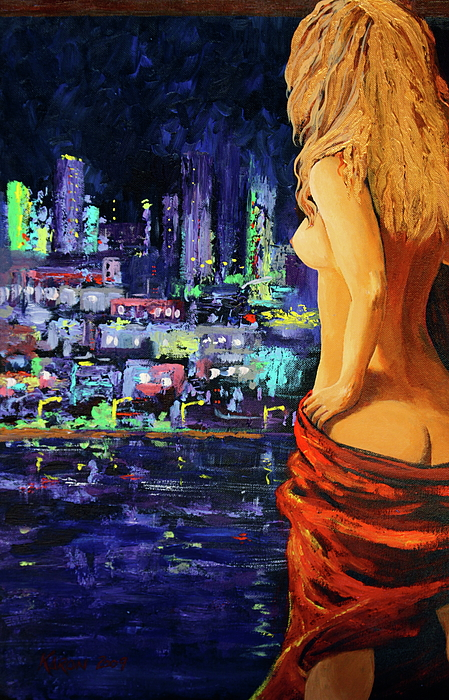 Woman Painting - Wishful Thinking by Karon Melillo DeVega