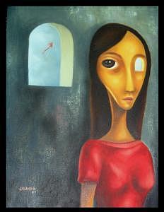 Girl Painting - Wishing by Joselito Jandayan