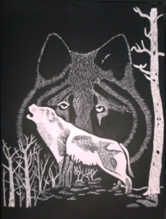 Wolf Mixed Media - Wolf On Hill by Chris Hedges
