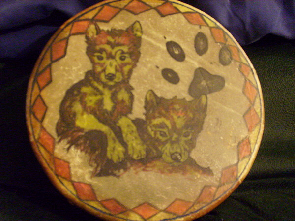 Drum Painting - Wolf Pup Drum by Angelina Benson