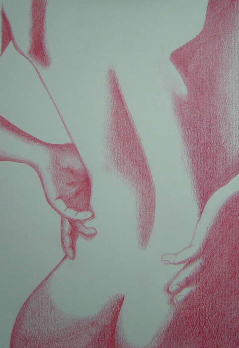 Nude Drawing - Woman Back Red by Fanny Diaz