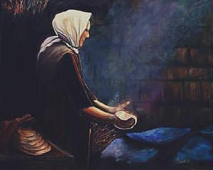 Woman Baking Bread Painting by Jude Rouslin