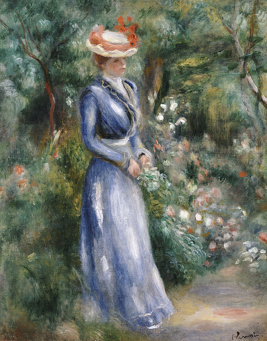 Dress Painting - Woman In A Blue Dress Standing In The Garden At Saint-cloud by Pierre Auguste Renoir