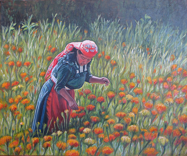 Mexican Paintings Painting - Woman In Field Of Cempazuchitl Flowers by Judith Zur