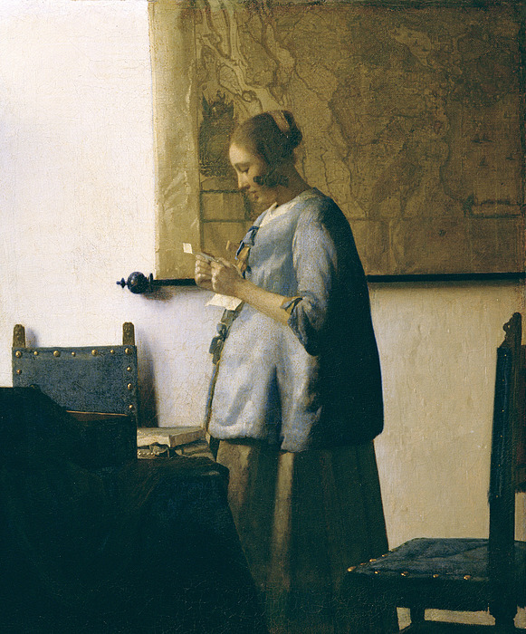 Woman Reading A Letter Painting - Woman Reading A Letter by Jan Vermeer