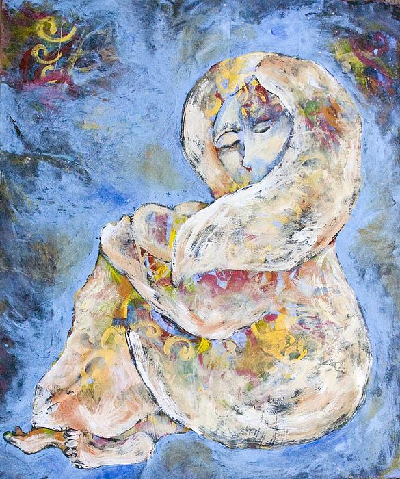 Figurative Painting - Woman Seeking Solace by Sara Zimmerman